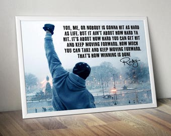 Rocky Balboa Sylvester Stallone  Inspirational Quote Poster