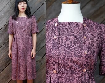 Light rosewood midcentury dress / Japanese Vintage / Vintage dress / Double breasted buttons / Retro / Mod / 60s / 70s / Size XS-S