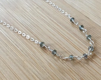 Sapphire Necklace, Sterling Silver Necklace, Sapphire Jewelry, Rosary Style Necklace, September Birthstone, Sapphire Silver Choker