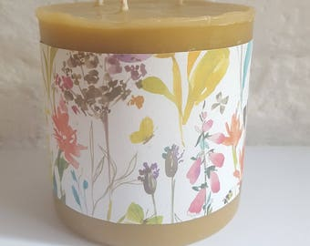 Large Beeswax Candle - Chimney Candle - Pillar Candle - Decorative Pure Beeswax Candle - Mother's Gift - Birthday Gift - Non Toxic Candle