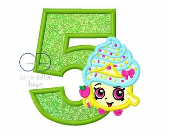 Birthday Cupcake Applique Design, Cupcake Embroidery Design