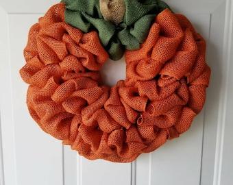 Pumpkin Burlap Wreath   Fall Wreath  