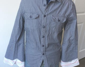 Upcycled Button-Down Shirt - Size S, Blue