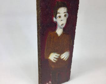 Small painting on wood, decorative gift - hand