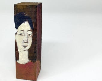 Small painting on wood, decorative gift - Portrait on Brown background