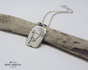 Sterling silver Warrior necklace, Warrior pendant, cave art jewellery, rock art, strength, survivor, petroglyph, talisman, amulet, brave