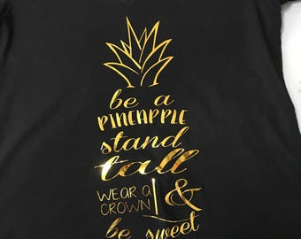 Be a Pineapple V-neck T-shirt for Ladies