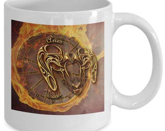Zodiac Horoscope coffee mug - ARIES star sign symbol - Constellation birthday gift