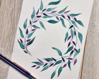Original handmade watercolor painting watercolors aquarel design leafs wreath illustration watercolour