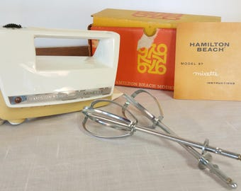 Hand Held Mixer Mixette, Hamilton Beach, Model 97, Portable , 3 Speed, Yellow and White, Working, USA, Original Instructions,  Mid Century