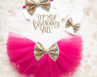 3rd Birthday Outfit Girl | Pink And Gold Birthday Tutu Set | 4th Birthday Shirt | 5th Birthday Outfit | It's My Birthday Y'all