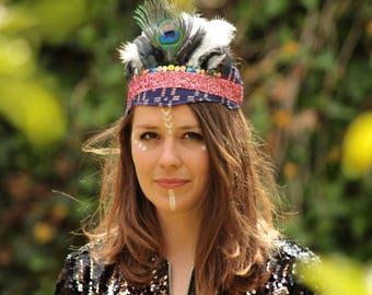 Sequin Feather Headdress