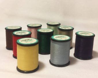 Vintage Thread - nine new old stock cotton covered polyester tiny spools, assorted colors