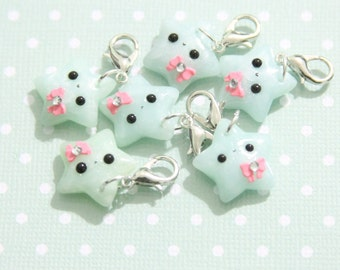 Kawaii Blue Star with Bow - Polymer Clay Charm