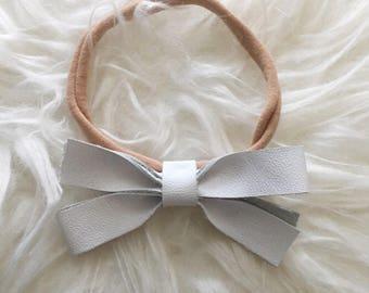 Baby Headband, White Bow Headband, Baby Leather Headband, Bow Headband, Genuine Leather Headband, Leather Headband