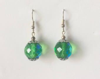 Vintage 1970's Green Aurora Borealis Faceted Crystal Dangle Drop Earrings