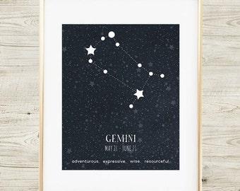 Gemini Constellation, Printable Art Print, Gemini Zodiac Sign, Zodiac Art, Gemini Star Map, Gemini Print, Gemini Poster, Gemini Zodiac Art