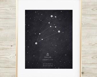 Leo Constellation Birth Print, Printable Art Print, Custom Coordinates, Nursery Decor, Nursery Art, Baby Shower Gift, Chalkboard Print