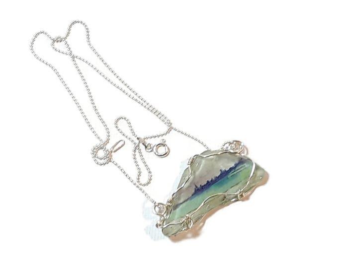 Beach glass jewelry women - Wire Wrap Beach Scene Beach Glass -Lake Michigan - Tiny image of Chicago Skyline - Sterling Silver Chain