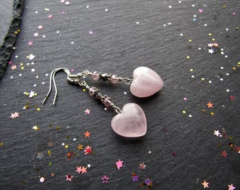 Rose Quartz Hearts and Crystals Earrings, Heart Earrings, Rose Quartz Earrings, Valentine Gift, Valentine Earrings, Mother's Day, Hearts