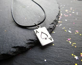 Ace of Heart Necklace with Leather Cord, Valentine for Him, Men Jewelry, Gift for Him, Love gift, Card Necklace, Ace of Heart, Gift for Men