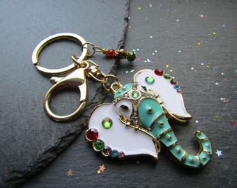 Mint Elephant Key Ring with Swarovski Crystals, Elephant Key Ring, Elephant Key Chain, Elephant Gift, Elephant Key Chain, Green Elephant