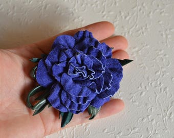Blue brooch flower jewelry blue flower brooch Gift to sister gift to mom anniversary gifts leather brooch gift for women wedding gift flower