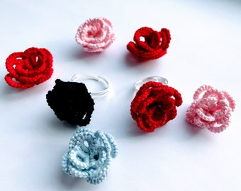 Tatting lace rose ring//Tatted rose ring