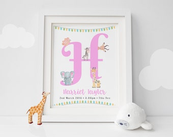 Personalised Girl Print -  Girl Alphabet Print - Initial Print - Nursery Decor - New Baby Print - Baby Animal Print - Pink Print (UNFRAMED)