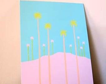 Palm Wonderlust,ORIGINAL CANVAS ART, Painting, Pastel Colors, Palm Trees, Tropical Art, Summer Art, Coastal Art, Medium Painting, Wall Art