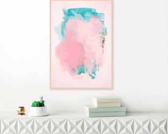 Pink and Teal Abstract Art, Pink Abstract Art,  Modern Wall Art Print, Original Wall Art, Instant Download Art, Large Wall Art