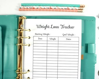 Printed A5 Weight Loss Tracker, Filofax A5 Planner Inserts, Carpe Diem A5 Inserts , Pre-punched A5 Fitness Planner, A5 Weight Tracker