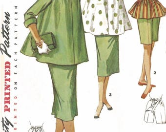 """Vintage 1960's Sewing Pattern Maternity Outfit, Bows on Shoulder Bust 32"""""""
