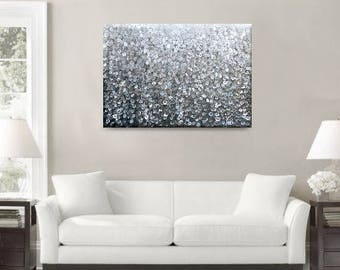 Abstract Painting Abstract Art Large Wall Art Original Art Dot Painting Dot Design Dotted Painting Brown Decor Taupe Blue Painting