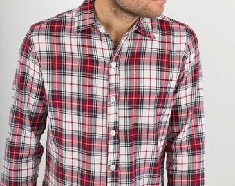 Mens 100% Cotton Long Sleeve Slim Fit Shirt Red Blue White CheckPrint