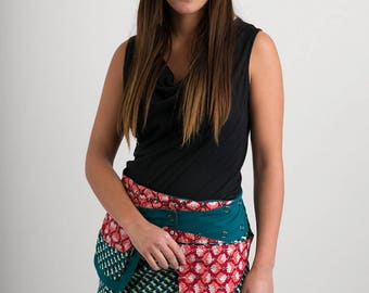 Reversible Cotton Skirt Green Blue Red Floral Print Green Detachable Pocket Mini Length