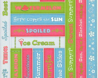 Sweet Summer Treats Titles Tags Borders Bo Bunny  Cardstock Scrapbook Stickers Embellishments Card Making