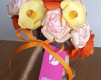Orange paper flower bouquet