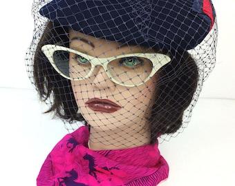 Vintage Geo W Bollman Blue/Red Doeskin Wool French Beret Pillbox w Netting Hat