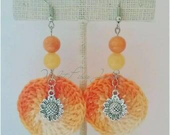 Sunflower earrings/ sunflowers/ tie dye/ crochet earrings/ crochet jewelry/ hippie jewelry/ hippie earrings/ boho jewelry/ boho earrings