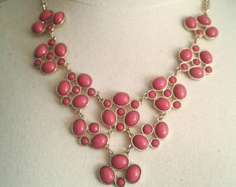 Pink Gemstone Bib Necklace, Pink Stone Necklace for Women, Gifts for Women, Dark Pink Stone Necklace, Pink Necklace, Silver Tone Setting.