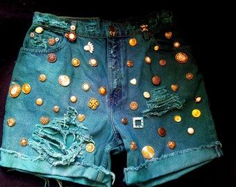 """High Waisted Emerald Green Denim Distress Fray Shorts Gold Adornments Womens sz 14 Waist 32"""""""