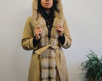 70s Vintage Faux Fur Beige Trench Coat, faux Fur Lined Coat