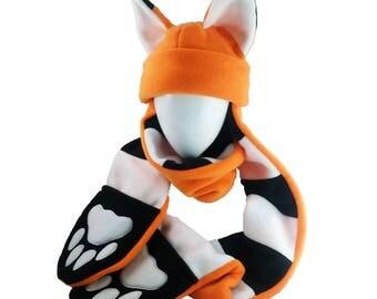 Fox Punk striped scarf paw hat