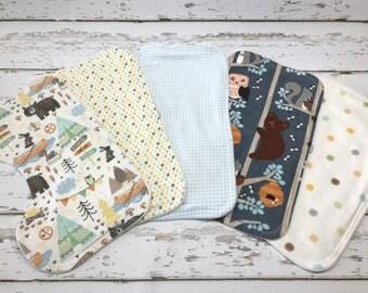 woodland Burp cloth organic Boy Burp cloth woodland baby shower bear burp cloth camping burp cloth Baby boy shower gift owl burp cloths