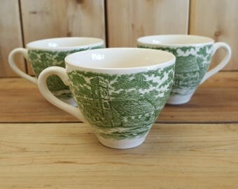Vintage Set of 3 Teacups English EIT Ltd Green Transferware Countryside Rural Design by K Wooth Retro Drinkware Espresso Coffee Victorian