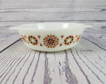 Vintage Small Casserole Dish JAJ Pyrex 505 Toledo Pattern Small Oven Proof Made in England Ovenware Modern Mid Century Bakeware