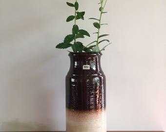 West Germany floor vase Bay Keramik 740 40, high gloss brown with beige