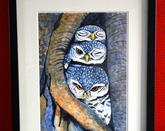 Signed print of original watercolor painting: Three little owls, owl print