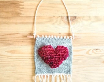 Heart - Mini Woven Wall Hanging